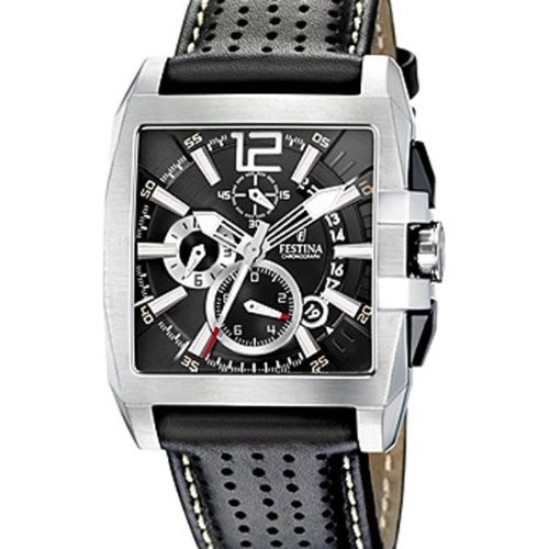 festina f16363 5 montre homme quartz analogique chronographe bracelet cuir noir montres. Black Bedroom Furniture Sets. Home Design Ideas