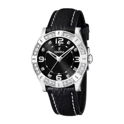 festina f16537 2 montre femme quartz analogique bracelet cuir noir montres. Black Bedroom Furniture Sets. Home Design Ideas