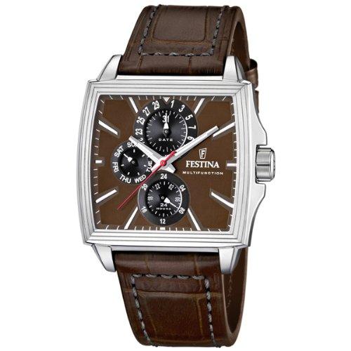 festina f16586 4 montre homme quartz analogique bracelet cuir marron montres. Black Bedroom Furniture Sets. Home Design Ideas