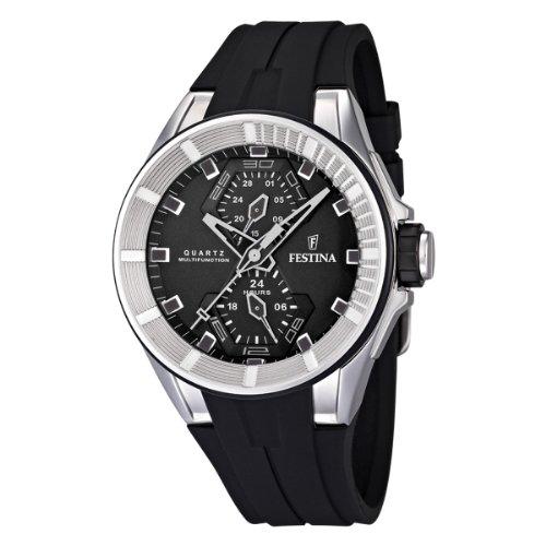festina f16611 4 montre homme quartz analogique bracelet caoutchouc noir montres. Black Bedroom Furniture Sets. Home Design Ideas