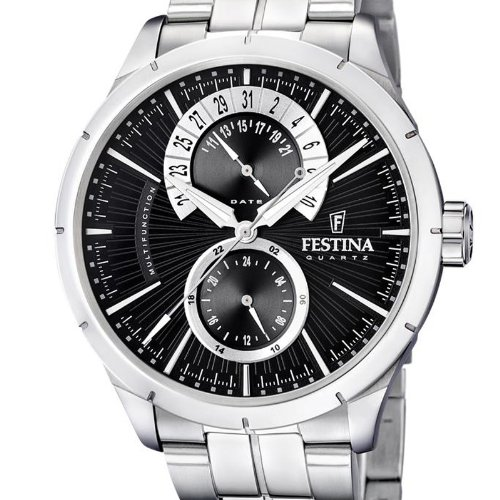 festina f16632 3 montre homme quartz analogique bracelet acier inoxydable argent montres. Black Bedroom Furniture Sets. Home Design Ideas