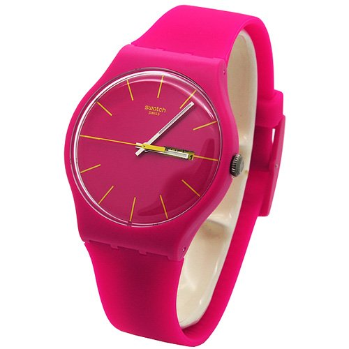 swatch rubine rebel femme 41mm rose plastique bracelet date montre suor704 montres. Black Bedroom Furniture Sets. Home Design Ideas