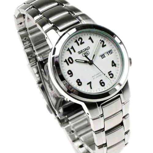 seiko snka13k1 5 gent montre homme automatique analogique cadran blanc bracelet. Black Bedroom Furniture Sets. Home Design Ideas