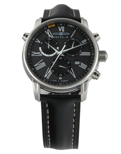 zeppelin watches 76962 montre homme swiss quartz movement analogique bracelet cuir noir. Black Bedroom Furniture Sets. Home Design Ideas